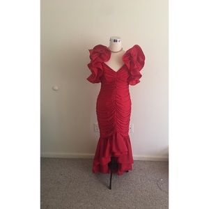 Vintage Red Ruffled Fishtail Gown